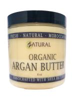 Organic Argan Body Butter-Moroccan Argan Oil-Raw Shea Butter-Skin-Body-Hair (8oz)