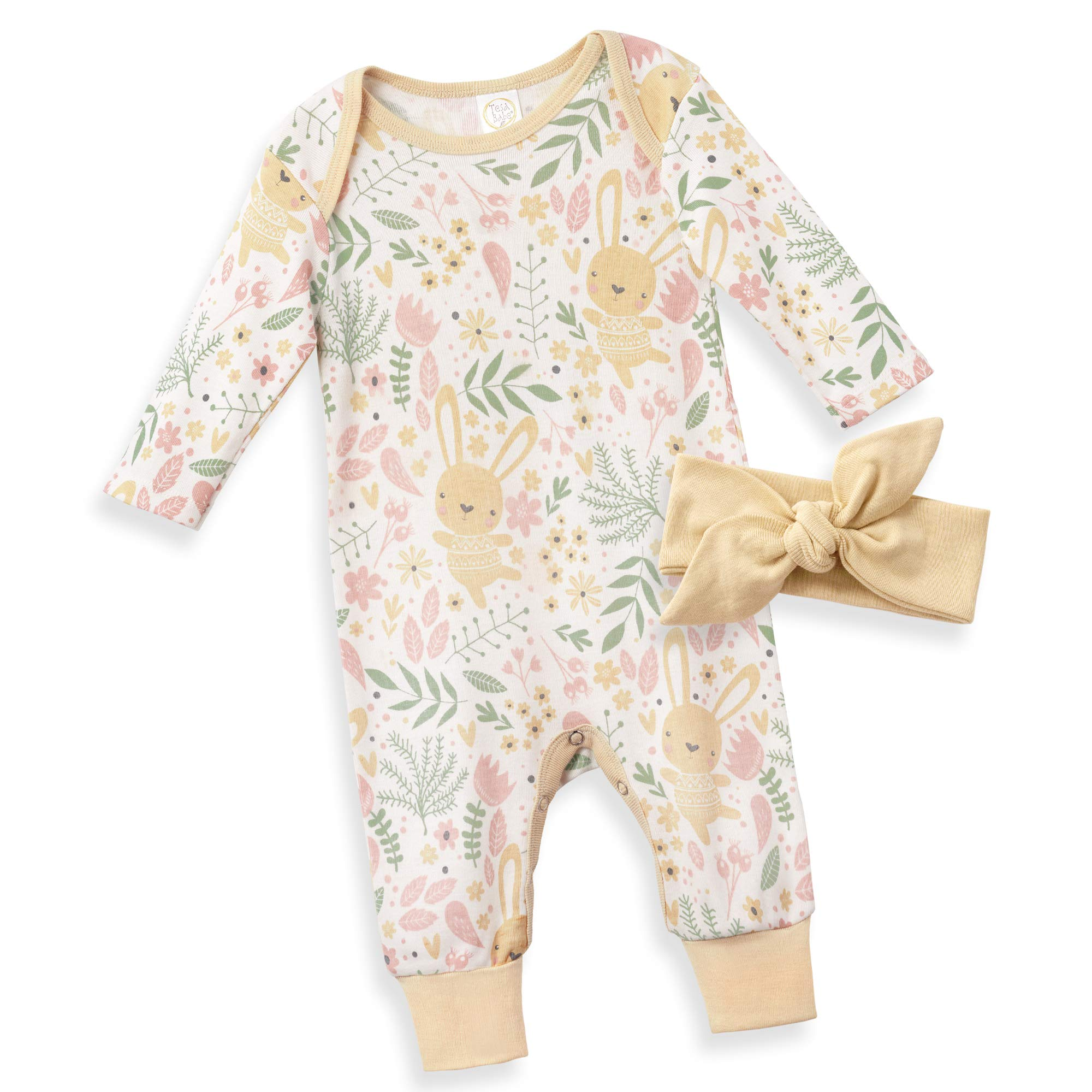 Tesa Babe Baby Girl Easter Outfit Gift for Newborn Infant to Toddler in Bunny Print, Multi