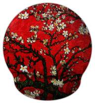 Meffort Inc Mouse Pad with Wrist Rest Support & Non-Slip Base, Durable Ergonomic Gaming Mousepad - Van Gogh Cherry Blossoming