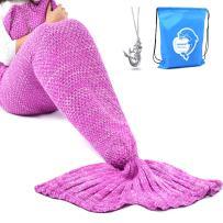 LAGHCAT Mermaid Tail Blanket Crochet Mermaid Blanket for Adult, Soft All Seasons Snuggle Mermaid Sleeping Bag Blankets, Classic Pattern, 56x28 Inch, Pink