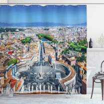 "Ambesonne European Shower Curtain, Saint Peter's Square in Rome Italian Mediterranean Europe Citscape Urban Print, Cloth Fabric Bathroom Decor Set with Hooks, 75"" Long, Blue Grey"