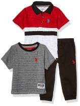 U.S. Polo Assn. Boys' Color Blocked Polo, T-Shirt, and Twill Jogger Set
