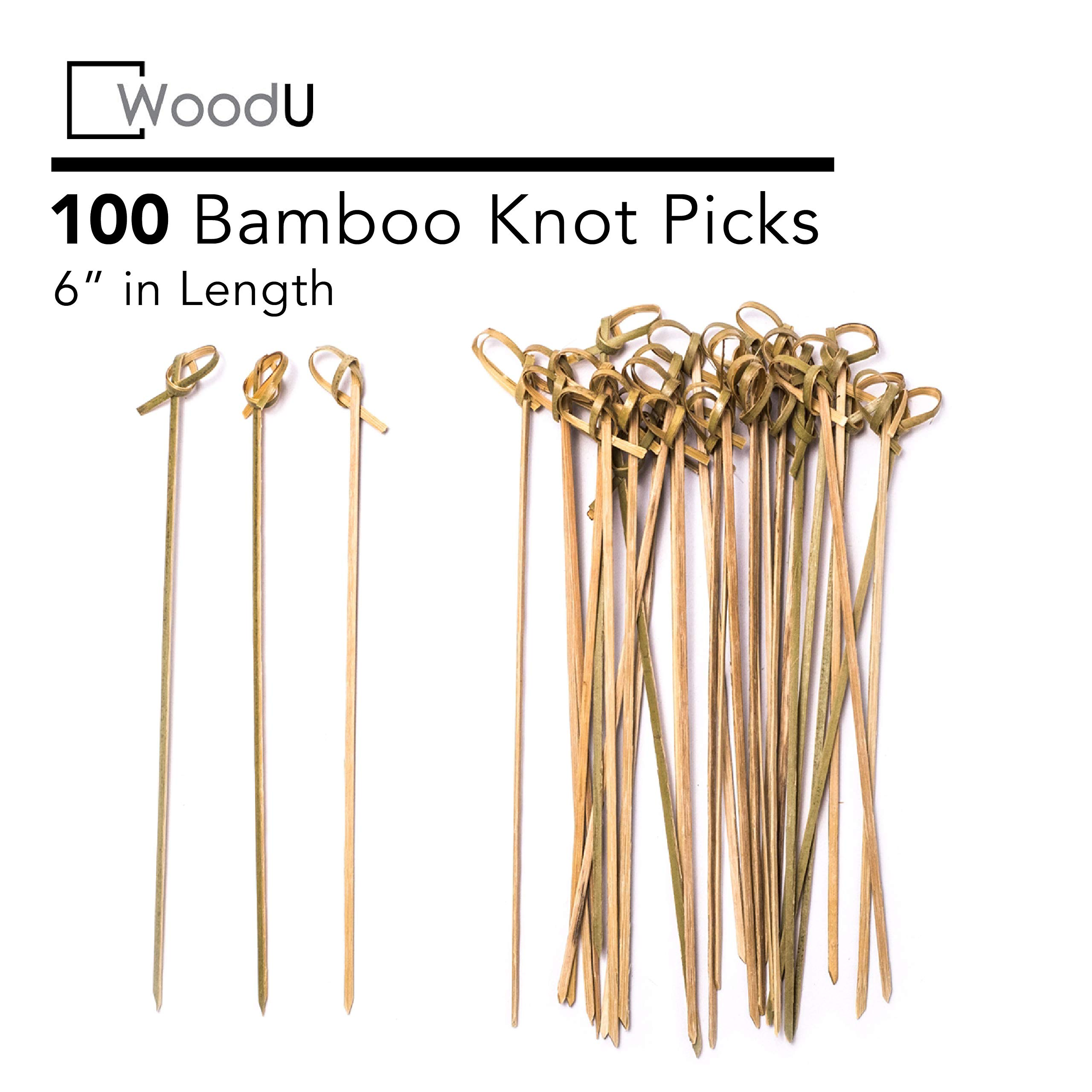 """Bamboo Knot Picks 100pc 6"""" Cocktail Skewers Eco friendly Biodegradable"""