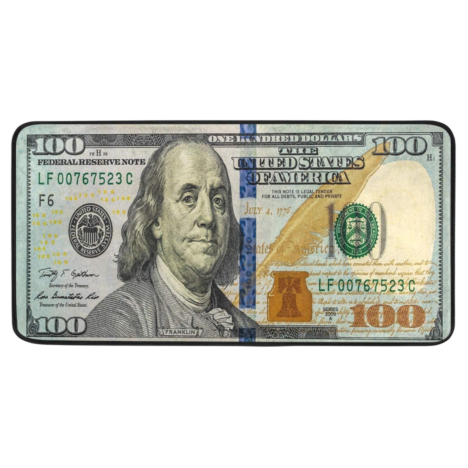 100 Dollar Bill Printed Kitchen Floor Mat Bath Runner Rug Non Slip Area Mat Rug Absorbent Comfort Standing Mat Carpet for Indoor Outdoor Doormat 39 x 20 Inch