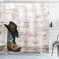 """Ambesonne Western Shower Curtain, Traditional Rodeo Cowboy Hat and Cowgirl Boots Retro Grunge Background Art Photo, Cloth Fabric Bathroom Decor Set with Hooks, 84"""" Long Extra, Brown Black"""