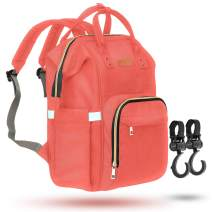 ZUZURO Diaper Bag Backpack - Waterproof w/Large Capacity & Multiple Pockets for Organization. Ideal for Travel Nappy Bags - W/Insulated Bottle Pocket. 2 Stroller Hooks Incl. (CORAL)