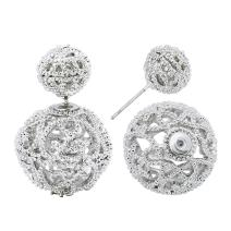 She Lian Vintage Hollow out Womens Double Side Round Ball Stud Earrings
