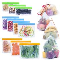 Reusable Food Storage Bags 14 Pack, Reusable Sandwich Freezer Bags 10 pack + Reusable Produce Bags 4 pack, Washable Reusable Ziplock Bags for Lunch Snack Groceries Mesh Bags for Shopping & Leakproof