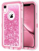 JAKPAK Case for iPhone XR Case Glitter Bling Sparkle for Girls Woman iPhone XR Case Heavy Duty Shockproof Full Body Protective Shell Hard PC Bumper and TPU Back Cover for iPhone XR 10R Pink