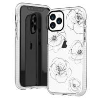 iPhone 11 Pro Max Case,Girls Women Cute Trendy Girly Line-Drawing Elegant Classical Black Roses Floral Flowers Daisy Less is More Soft Protective Clear Design Case Compatible for iPhone 11 Pro Max