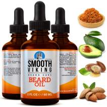 Smooth Viking Beard Oil for Men, Conditions and Promotes Growth for Soft and Itch Free Facial Hair, Leave-in, Argan Oil Formula Grooms Beard and Mustache and Soothes Dry Skin, 2 ounces