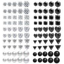 Stainless Steel Stud Earrings for Women 25-50 Pairs Mens Surgical Steel Earrings Hypoallergenic Cubic Zirconia Earring 4-8 mm