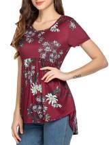 Beyove Womens Floral Printed Crewneck Tunic Shirts Short Sleeve Tunic Tops