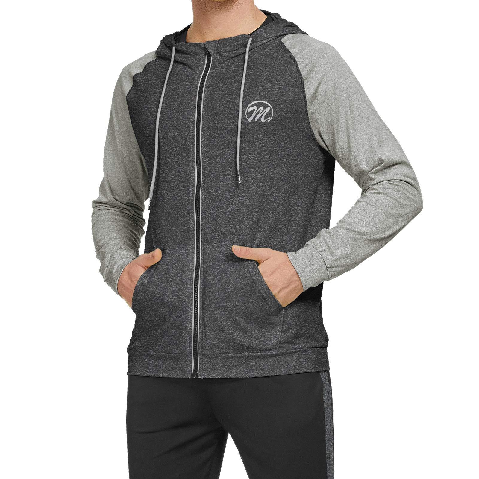 Men's Running Jacket, Full Zip Long Sleeve Sport Shirts Hooded Reflective Top