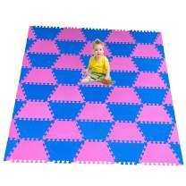 "Red Suricata Playspot Foam Hexamat – Geo Interlocking Baby Play Mat - Baby Playmat for Kids, Infants & Toddlers – 79"" x 60"" or 74"" x 63"" Foam Floor Play Mat - Patent Pending (Blue/Pink)"