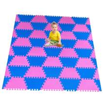 "Red Suricata Playspot Foam Hexamat – Geo Interlocking Baby Play Mat - Baby Playmat for Kids, Infants & Toddlers – 79"" x 60"" or 74"" x 63"" Foam Floor Play Mat - Patent Pending (Blue/Pink)"