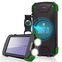 Solar Charger Portable Power Bank Qi Wireless Solar Panel Charging IPX4 Waterproof Outdoor Travel External Battery Pack with DC5V/2.1A USB Output/Type C Input/Dual Flashlight/Compass