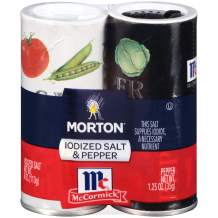 Morton Iodized Salt and Pepper Shakers, 5.25 Ounce Shaker Set (Pack of 12)