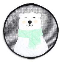 """Soft Baby Play Mat and Toy Storage Organizer - 1"""" Thick Cotton Floor Activity Mat for Toddlers and Infants - Large Drawstring Portable Bag for Kids Supplies, Toys, Clothes and Diapers - Polar Bear"""