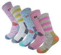 SEOULSTORY7 5Pack Women's Multi Performance Cushion Hiking/Outdoor Crew Socks Year Round