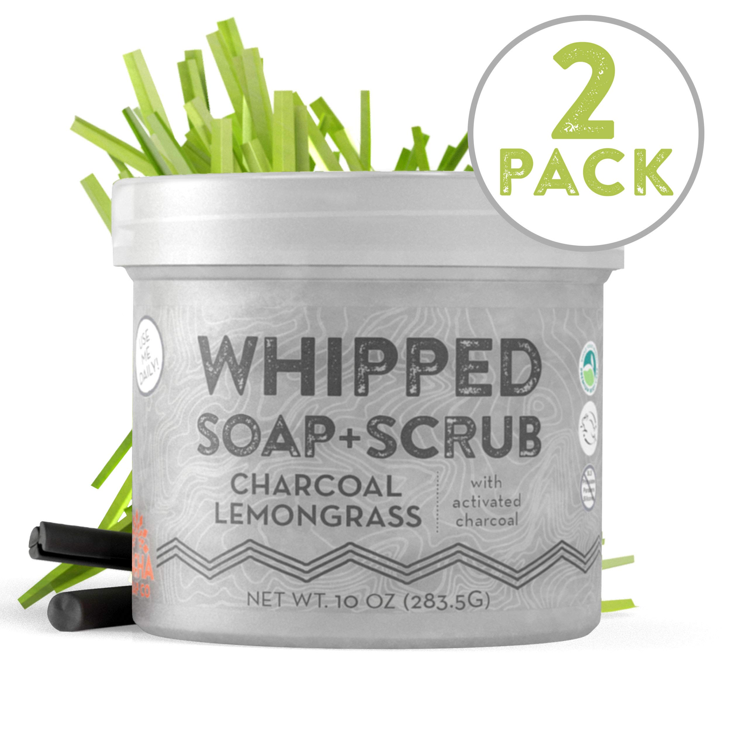 Whipped Soap + Scrub Body Wash - Detoxifying Charcoal and Lemongrass - Luxurious Body Wash and Scrub for an Exfoliating Head to Toe Cleanse