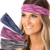 Hipsy Adjustable Cute Fashion Sports Headbands Xflex Wide Hairband for Women Girls & Teens (Xflex Navy/Pink/Grey 3pk)