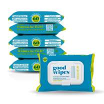 Goodwipes Flushable & Biodegradable Wipes with Botanicals, Dispenser for At-Home Use Safe, Shea-Coco with Aloe, Septic and Sewer Safe, 360 count (6 packs of 60) - Never Dries Out
