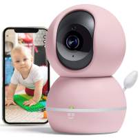 Geeni Smart Home Pet and Baby Monitor with Camera, 1080p Wireless WiFi Camera with Motion and Sound Alert (Pastel Pink)
