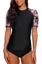 Sociala Women's Short Sleeve Rash Guard Loose Fit Swim Shirt UPF 50+ Rashguard Top