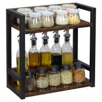 """OROPY Vintage 2 Tier Standing Spice Rack, Wood Standing Spice Organizer Shelf for Countertop, 15.7""""L x 7.1""""W x 14.9""""H, Retro Color"""