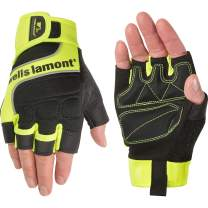 Wells Lamont Men's Hi-Viz Fingerless Synthetic Leather Work Gloves, Medium (841YM),Hi-Viz Yellow/Black
