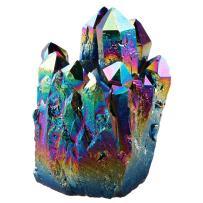 rockcloud Natural Titanium Coated Rainbow Crystal Quartz Cluster Geode Druzy Home Decoration Gemstone Specimen
