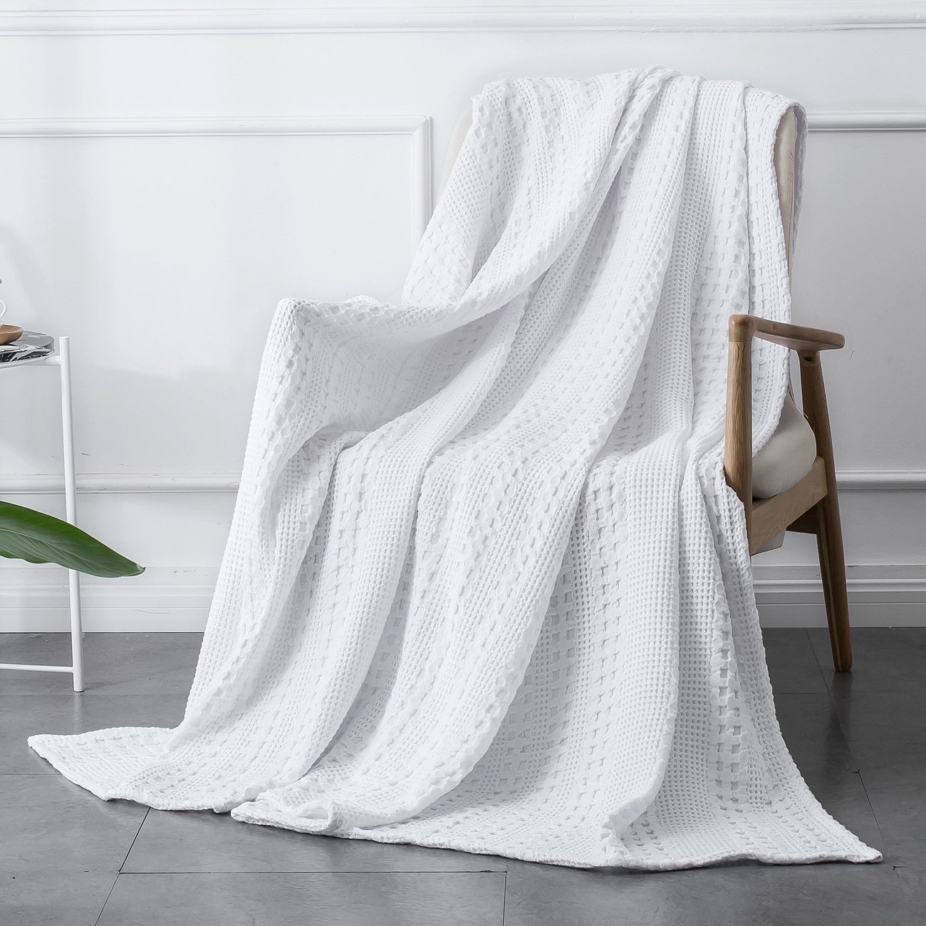 PHF Cotton Waffle Weave Blanket Home Decorations for All Season Cozy Soft Comfort King Size White