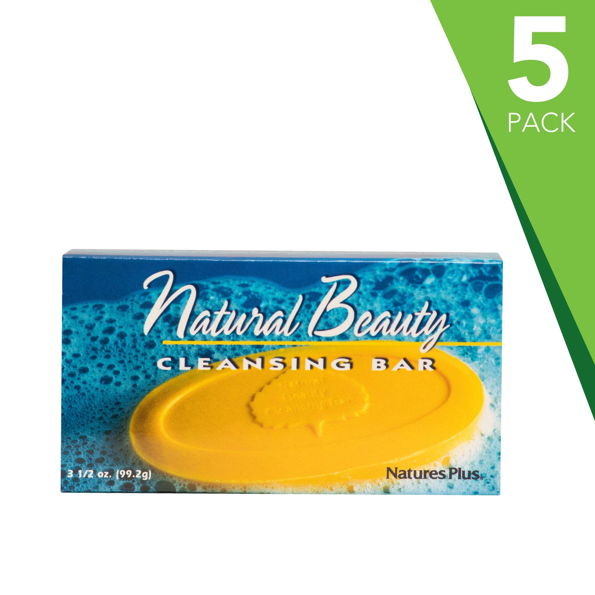 NaturesPlus Natural Beauty Cleansing Bar (5 Pack) - 500 iu Vitamin E with Allantoin, 3.5 Ounce Bar - Natural Cleanser, Made with Organic Ingredients, Anti-Aging - pH of 4.5 - Vegan