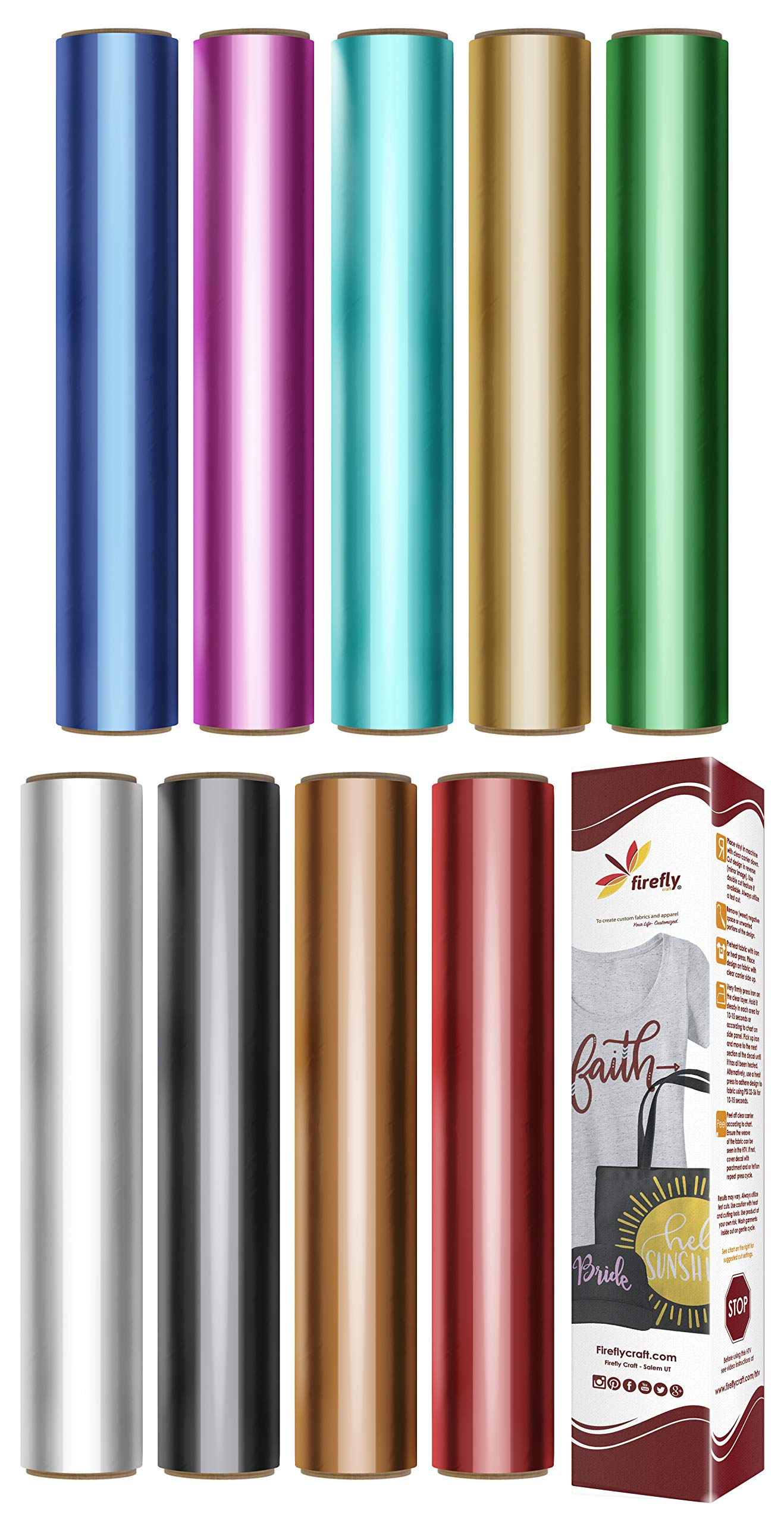 """Firefly Craft Elastic Foil Heat Transfer Vinyl Bundle   Metallic HTV Vinyl Bundle   Iron On Vinyl for Cricut and Silhouette   Pack of 9 Best Selling Colors Including Gold HTV - 12"""" x 20"""" Each"""