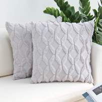 JOJUSIS Plush Short Wool Velvet Decorative Throw Pillow Covers Luxury Style Cushion Case Faux Fur Pillowcases for Sofa Bedroom Pack of 2 16 x 16 Inch Grey