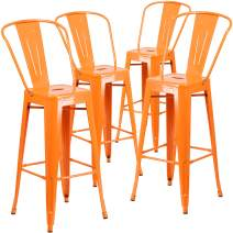 """Flash Furniture Commercial Grade 4 Pack 30"""" High Orange Metal Indoor-Outdoor Barstool with Removable Back"""