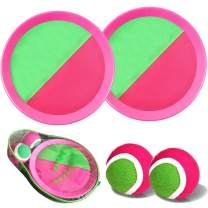 Ball Catch Set Game Toss Paddle – 【2020 Upgraded】Backyard Target Throw Catch Volcro Sticky Mitt Tennis Ball Set Age 3 4 5 6 7 8 9 Years Old Boy Girl Kids Easter Outdoor Beach Toy Gift with Bag (Pink)