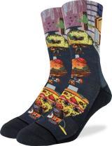 Good Luck Sock Men's Rotten Food Crew Socks - Black, Adult Shoe Size 8-13