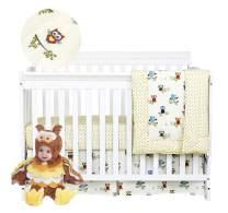 Brandream Baby Crib Bedding Sets Owls Nursery Girls Boys Bedding with Star Birds Tree Family Comforter Set 100% Cotton White/Beige, Baby Shower Gift
