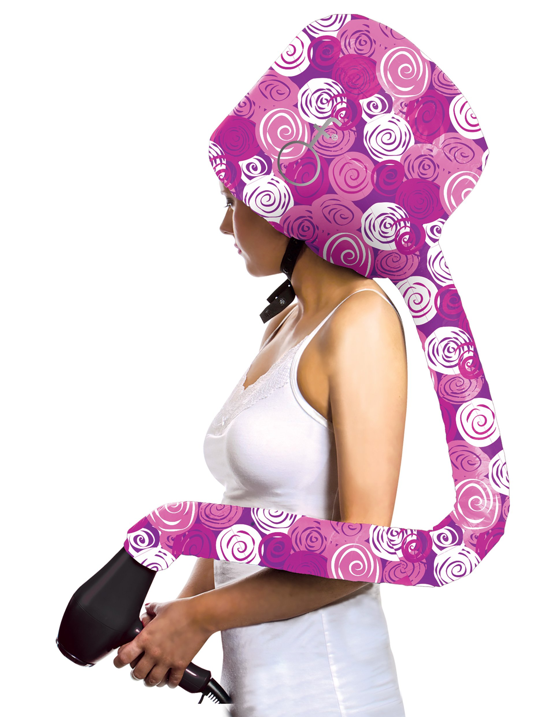 Bonnet Hair Dryer Attachment Hair Flair Deluxe Softhood (Multi-colored Pinks)