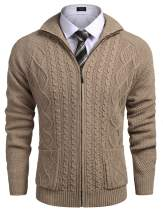 COOFANDY Mens Cardigan Sweater Casual Fit Stand Collar Full Zip Up Cable Knitted Sweater