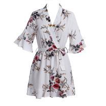 Taiduosheng Women Floral Print Deep V-Neck Tie Waist Short Romper Playsuit Jumpsuit