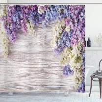 """Ambesonne Rustic Shower Curtain, Lilac Flowers Bouquet on Wood Table Spring Nature Romance Love Theme, Cloth Fabric Bathroom Decor Set with Hooks, 75"""" Long, Lilac Violet"""