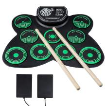Electronic Drum Set - BELOS Bluetooth Electric Midi Drum Set Kit for Kids Beginner Portable Roll Up Drum Practice Pads - Musical Instruments With Built-In Speaker,Drum Pedals Drum Sticks Rockpals