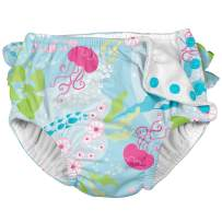 i Play Girls Reusable Absorbent Baby Swim Diapers - Swimming Suit Bottom | No Other Diaper Necessary Aqua Coral Reef 18 Months