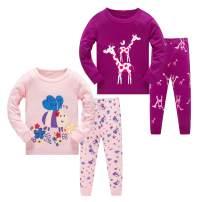 AmberEft Pajamas for Girls Cotton Toddler Kid Clothes 2-Piece Sleepwear Children PJs Set 2-8T