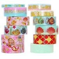 VEYLIN 11Rolls Washi Tape Set, Gold Foil Ocean Theme Decorative Masking Tape for Scrapbook Notebook