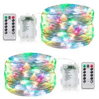 2 Pack 33FT Fairy Lights Battery Operated with Timer and 8 Mode Remote Control, 100 LED Waterproof Firefly String Lights for Bedroom Indoor Outdoor Wedding Dorm Christmas Decor, Multicolor