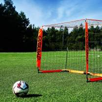Max4out Portable Soccer Goal for Backyard, Practice Soccer Net for Kids and Youth with Carry Bag and Goal Post (Orange) - 12x6 FT and 6x4 FT Soccer Goal